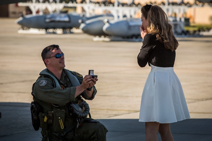 Maj. James Corrington proposes to his girlfriend on the flightline aboard Marine Corps Air Station Beaufort March 15. Corrington has been deployed to the Western Pacific with Marine All-Weather Fighter Attack Squadron 224 since October 2015. Corrington is a pilot with VMFA(AW)-224.