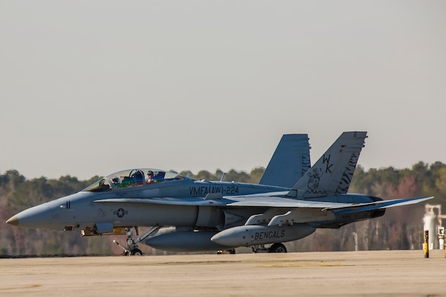 An F/A-18D Hornet returns to Marine Corps Air Station Beaufort March 15. Marine All-Weather Fighter Attack Squadron 224 has been deployed to the Western Pacific since October 2015 as part of the Unit Deployment Program. The Hornet is with VMFA(AW)-224.