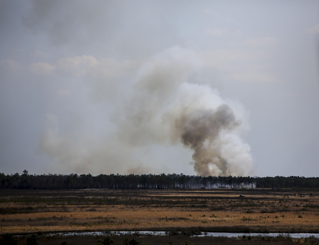 Artillery rounds fired by Marines with 1st Battalion, 10th Marine Regiment make impact at Observation Post 3 during a battalion field exercise held by 2nd Battalion, 8th Marine Regiment at Camp Lejeune, N.C., March 15, 2016. The battalion coordinated with artillery, mortars and rotary-wing aircraft to direct fire support. (U.S. Marine Corps photo by Cpl. Paul S. Martinez/Released)