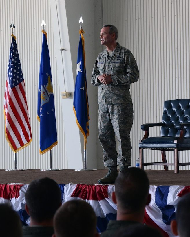 Lt. Gen. Darryl Roberson, commander of Air Education and Training Command, speaks to Airmen and civilians at Laughlin Air Force Base, Texas, March 16, 2016. Roberson talked about how airpower starts here with Laughlin's mission of graduating flying training students.(U.S. Air Force photo by Senior Airman Jimmie D. Pike)
