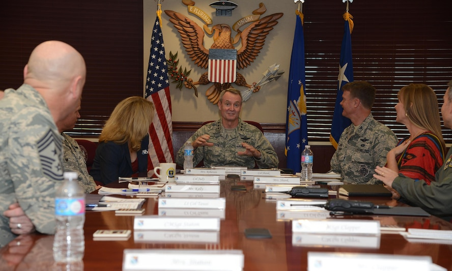 Lt. Gen. Darryl Roberson, commander of Air Education and Training Command, is briefed by members of the 47th Flying Training Wing about base history and operations, March 16, 2016. While at Laughlin, Roberson thanked members of Team XL for their work and reiterated the importance of the 47th FTW's mission. (U.S. Air Force photo by Airman 1st Class Brandon May)