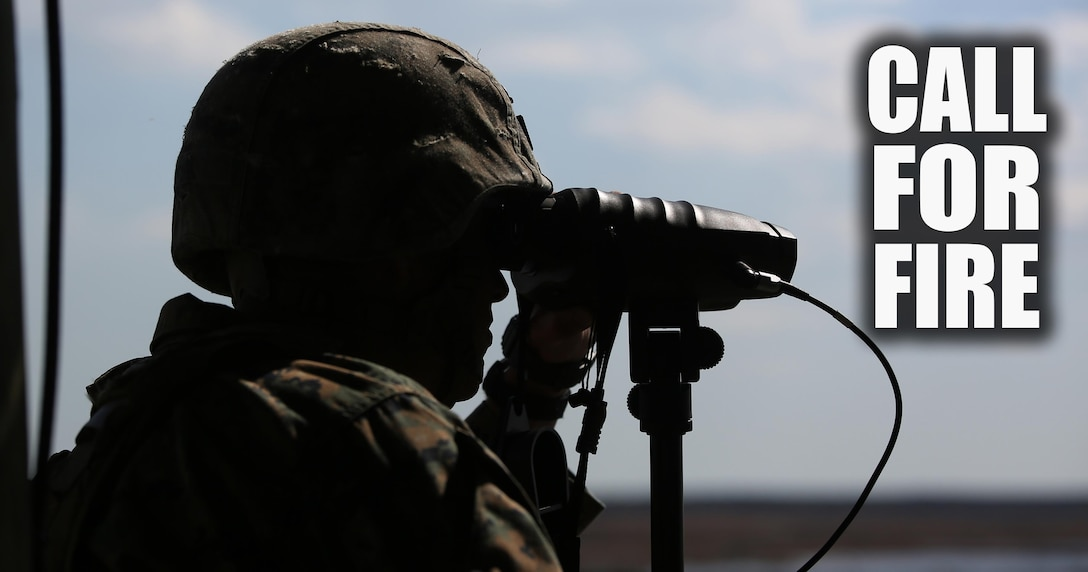 Staff Sgt. Nicholas R. Bowling, a joint terminal attack controller with 2nd Battalion, 8th Marine Regiment, observes targets down range during a fire support coordination exercise at Camp Lejeune, N.C., March 15, 2016. The exercise was the first to allow the unit to collaborate with their 1st Battalion, 10th Marine Regiment attachment that will be among them during their upcoming deployment. (U.S. Marine Corps photo by Cpl. Paul S. Martinez/Released)