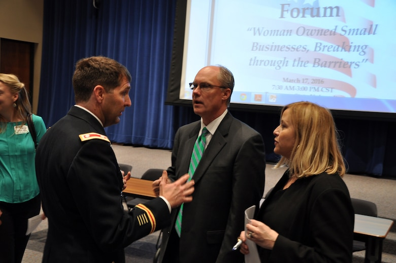 Lt. Col. Stephen Murphy (Left), U.S. Army Corps of Engineers Nashville District commander, and Nashville Mayor Megan Barry speak with Joe Bailey, a government relations business development executive with Phillips & Jordan, during the Small Business Forum March 17, 2016 at Tennessee State University.  About 360 small businesses were represented at the event sponsored by the U.S. Army Corps of Engineers Nashville District, Tennessee Small Business Development Center, and University of Tennessee Center for Industrial Services Procurement Technical Assistance Center.
