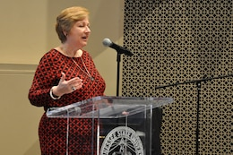 Ann Sullivan, Madison Services Group president, speaks about women impacting public policy and sole source changes during the Small Business Forum March 17, 2016 at Tennessee State University.  About 360 small businesses were represented at the event sponsored by the U.S. Army Corps of Engineers Nashville District, Tennessee Small Business Development Center, and University of Tennessee Center for Industrial Services Procurement Technical Assistance Center.