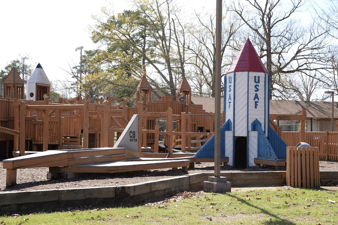 Columbus Air Force Base, Mississippi, is home to Freedom Park, a large wooden playground for children to play on. The original Freedom Park was built in 1976 and was rebuilt into the current form in 1996. (U.S. Air Force photo/Airman 1st Class John Day)