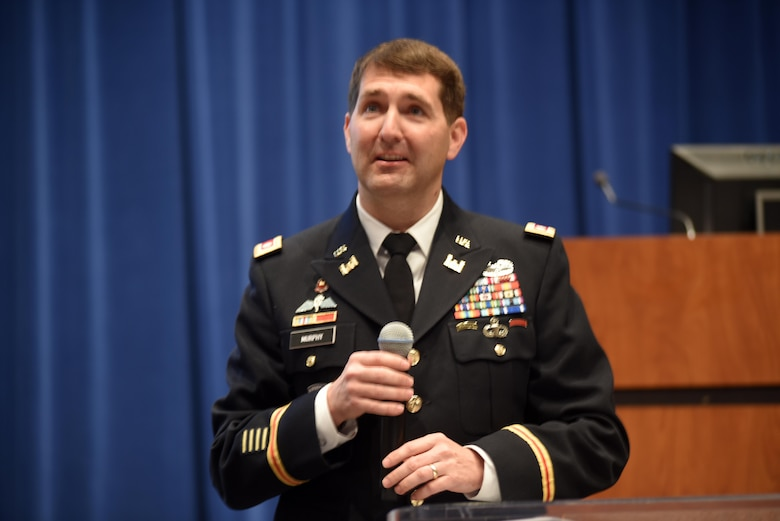 Lt. Col. Stephen Murphy, U.S. Army Corps of Engineers Nashville District commander, welcomes more than 350 small business owners and managers to the 5th Annual Small Business Forum at Tennessee State University in Nashville, Tenn., March 17, 2016. The Nashville District worked to educate business professionals about available tools and resources, and provided information on how to get assistance with the procurement process.