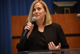 Nashville Mayor Megan Barry notes that Wallet Hub named Nashville as the best city for women entrepreneurs out of the 100 biggest metropolitan areas in the United States during the 5th Annual Small Business Forum at Tennessee State University in Nashville, Tenn., March 17, 2016.