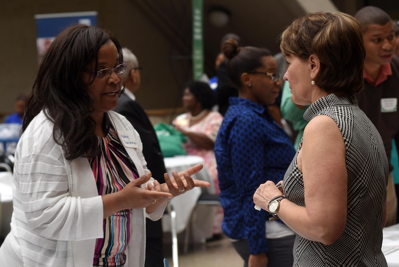 Linda L. Spadaro (Right), U.S. Army Corps of Engineers Mobile District Small Business Office chief, interacts with Kathy Scarbrough during the 5th Annual Small Business Forum at Tennessee State University in Nashville, Tenn., March 17, 2016.