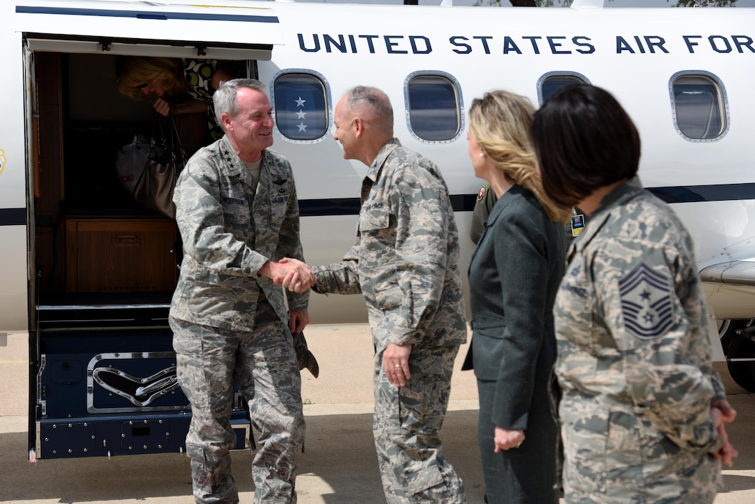 U.S. Air Force Lt. Gen. Darryl L. Roberson, commander of Air Education and Training Command, is greeted by Col. Michael L. Downs, 17th Training Wing commander, Leah Downs, , and Chief Master Sgt. JoAnne S. Bass, 17th TRW command chief, at the San Angelo Regional Airport, San Angelo, Texas, March 17, 2016. Roberson's visit to Goodfellow is his first since taking command. (U.S. Air Force photo by Senior Airman Joshua Edwards/Released)