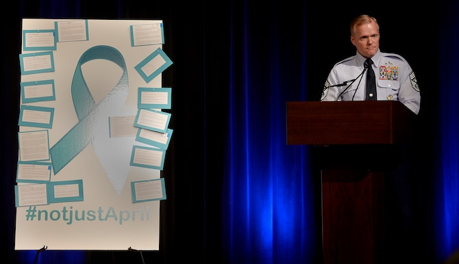Chief Master Sgt. of the Air Force James A. Cody shares a story that influenced him, both as a senior enlisted leader and the father of a college-aged daughter, during a Sexual Assault Awareness Month event at the Pentagon March 17, 2016. The event included participants who read actual testimonials of victims. (U.S. Air Force photo/Scott M. Ash)