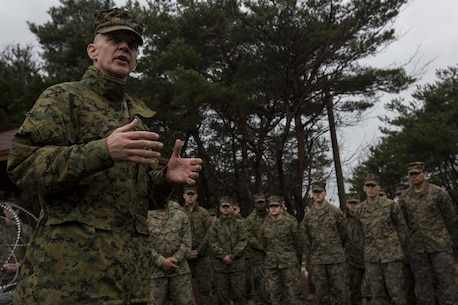 U.S. Marine Corps Brig. Gen. John Jansen, the 3rd Marine Expeditionary Brigade Commanding General, speaks to a group of Marines at Pohang City, South Korea, March 18, 2016 during Exercise Ssang Yong 16. Ssang Yong is a biennial military exercise focused on strengthening the amphibious landing capabilities of the Republic of Korea, the U.S., New Zealand and Australia. (U.S. Marine Corps Photo by MCIPAC Combat Camera Lance Cpl. Juan C. Bustos/ Released)