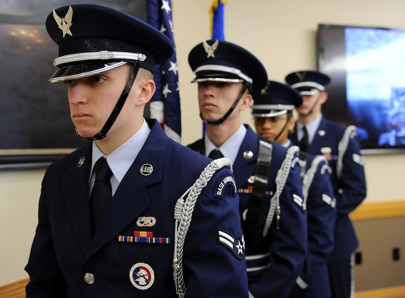 "Members of the Whiteman Honor Guard prepare to present the colors at the National Prayer Breakfast at Whiteman Air Force Base, Mo., March 11, 2016. Every year, the National Prayer Breakfast has a different theme. This year's theme was ""Your life matters and could change the course of history."" (U.S. Air Force photo by Airman 1st Class Michaela R. Slanchik)"