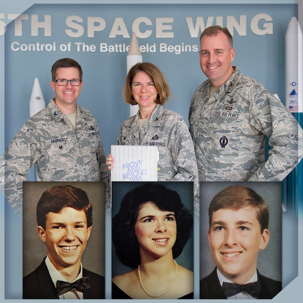 Colonels Shawn Fairhurst, 45th Space Wing vice commander, Daniel Gottrich, 45th SW chief of safety,Shannon Klug, 45th Weather Squadron commander, pose with one of their high school's yearbook and the inserted photos in the graphic show photos of them as students of James W. Robinson Secondary School in Fairfax, Va., in the late 1980s. Fairhurst's senior photo is in Klug's 1986 yearbook where she was featured as a junior. She graduated in 1987 and Gottrich graduated in 1988. The yearbook pages prove the three former Robinson Rams who were once strangers are now Air Force Wingmen, leading extraordinary missions from the nation's gateway to space.(U.S. Air Force photo by Matthew Jurgens/released)