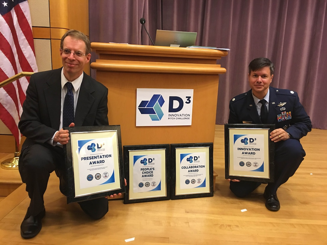 Dr. Paul Jaffe and Lt. Col. Peter Garretson pose with the awards their Space Solar Power D3 team won at inaugural Defense, Diplomacy and Development Innovation Summit Pitch Challenge, March 3 in Washington, D.C. The space solar power D3 team includes members of the Air University, the Naval Research Lab, Northrop Grumman, NASA, the Join Staff Logistics and Energy division, DARPA, the United States Army, and the Space Development Steering Committee. (Courtesy photo)