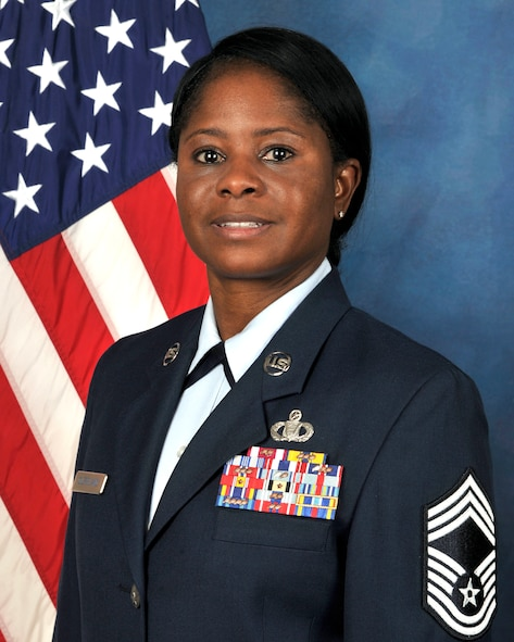 Chief Master Sgt. Lashanda Cleveland was promoted at the U.S. Air Force Expeditionary Center on Joint Base McGuire-Dix-Lakehurst on Fe. 29, 2016. (U.S. Air Force photo/Danielle Brooks)