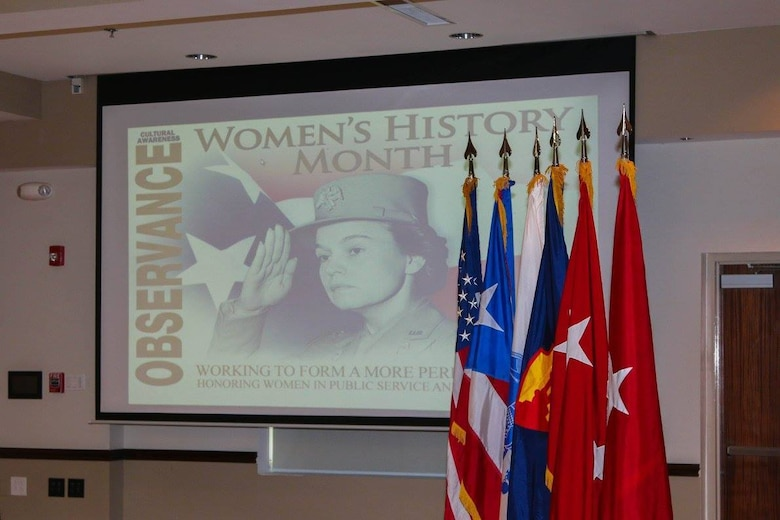 The 1st Mission Support Command (MSC) and Installation Management Command partnered up to celebrate Women's History Month at the 1st MSC Headquarters, Ramon Hall, on Fort Buchanan, Puerto Rico, March 17. (U.S. Army National Guard photo by Sgt. Alexis Vélez/Released)