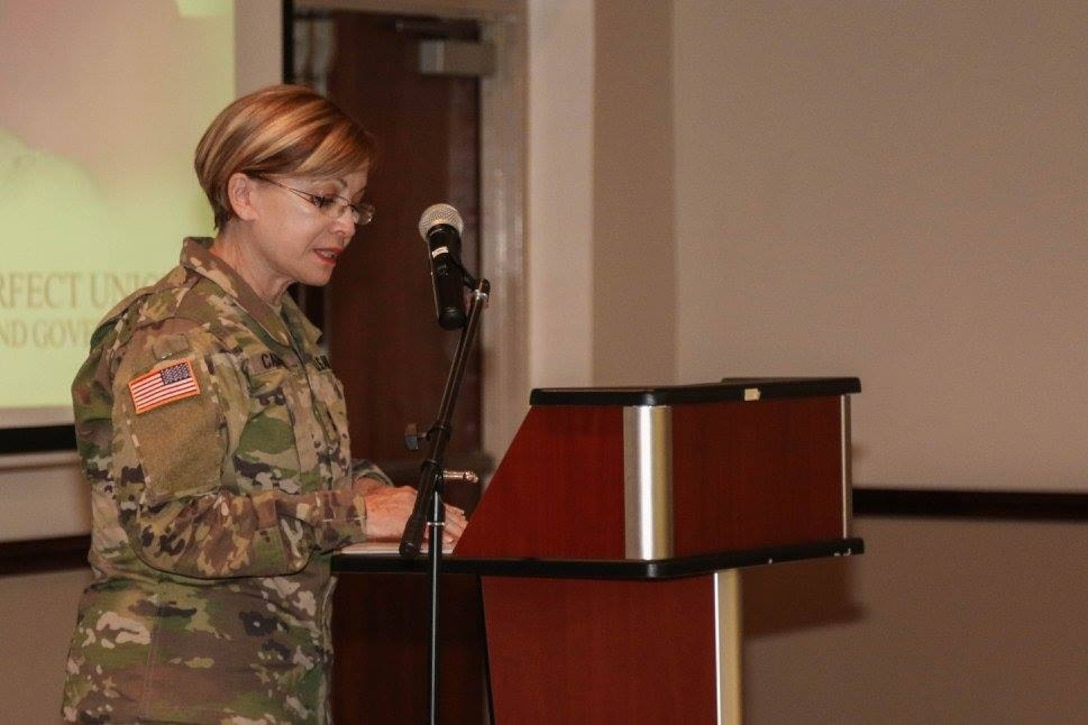 Maj. Gen. Marta Carcana, The Adjutant General (TAG) for Puerto Rico and guest speaker during 1st MSC and Installation Management Command's Women's History Month celebration at the 1st MSC Headquarters, Ramon Hall, on Fort Buchanan, Puerto Rico, March 17. (U.S. Army National Guard photo by Sgt. Alexis Vélez/Released)