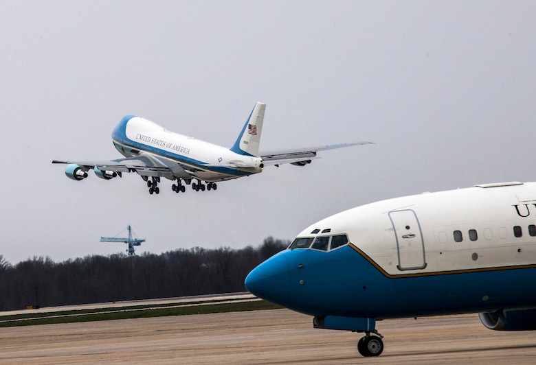 Air Force One departs Joint Base Andrews, Md., March 20, 2016, to transport President Barack Obama to Cuba. The 89th Airlift Wing owns two VC-25s, and when the president is on board, these jets assume the call sign Air Force One. (U.S. Air Force photo/Senior Master Sgt. Kevin Wallace)