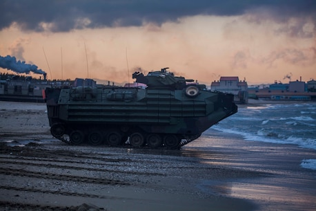 A U.S. Marine Corps Amphibious Assault Vehicle assigned to Battalion Landing Team 1st Battalion, 5th Marines, 31st Marine Expeditionary Unit enters the water after conducting an amphibious assault rehearsal during Exercise Ssang Yong 16, Dogu Beach, Pohang, Republic of Korea, March 10, 2016. The U.S. Navy and Marine Corps team is committed to the ROK-U.S. Alliance and conduct exercises regularly to ensure interoperability and maintain strong working relationships to support the sovereignty of the ROK.  Ssang Yong familiarizes American armed forces with the Korean Peninsula and builds upon the strong preexisting relationship between the two militaries.  The Marines and sailors of the 31st MEU are currently deployed aboard the Bonhomme Richard Amphibious Ready Group as part of their spring deployment of the Asia-Pacific region. (U.S. Marine Corps Photo by GySgt Ismael Pena/Released)