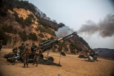 U.S. Marines with Golf Battery, Battalion Landing Team 1st Battalion, 5th Marines, 31st Marine Expeditionary Unit, fire their M777A2 lightweight 155 mm howitzer at Sanseori, South Korea, as part of Exercise Ssang Yong 16, March 15, 2016. Ssang Yong is a biennial combined amphibious exercise conducted by U.S. forces with the Republic of Korea Navy and Marine Corps, Australian Army and Royal New Zealand Army forces in order to strengthen interoperability and working relationships across a wide range of military operations. The Marines and sailors of the 31st MEU are currently deployed to Korea as part of their spring deployment of the Asia-Pacific region. (U.S. Marine Corps Photo by Gunnery Sgt. Ismael Pena/Released)