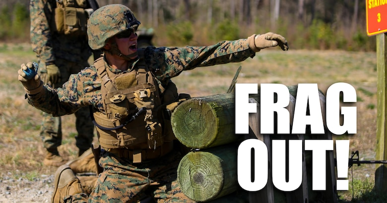 Lance Cpl. Evan D. Deniston, a military policeman with 2nd Law Enforcement Battalion, throws a dummy grenade, a non-exploding practice tool, during an assault course at Camp Lejeune, N.C., March 16, 2016. This drill is part of an annual training event to prepare them for combat situations when they are called upon to deploy.. Marines took turns providing cover fire for their partner, allowing them to throw a dummy grenade near the simulated enemy position.  (U.S. Marine Corps photo by Lance Cpl. Aaron K. Fiala/Released)