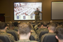 Commandant of the Marine Corps Gen. Robert B. Neller speaks with Marine Raiders during a town hall meeting at the U.S. Marine Corps Forces, Special Operations Command (MARSOC) headquarters at Stone Bay aboard Marine Corps Base Camp Lejeune, N.C., March 17, 2016.  During the town hall, Neller reinforced his area of effort in shaping the Marine Corps to operate as part of the Joint Force, to include leveraging and enabling the interoperability between the Marine Air Ground Task Force and Special Operations Forces (SOF), in order to develop and sustain a fully integrated and ready Navy and Marine Corps team.