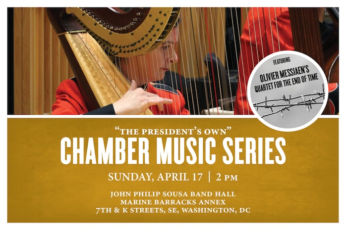 CHAMBER MUSIC SERIES: Sunday, April 17 at 2 p.m. (EDT), Sousa Band Hall, Washington, D.C. Coordinated by bass trombonist Master Sgt. Karl Johnson, the concert will feature various ensembles, including harp solos, a wind octet with percussion, a trombone ensemble, and a clarinet, violin, cello, and piano quartet performing Olivier Messiaen's deeply profound Quatuor pour la fin du temps (Quartet for the End of Time). Messiaen composed the entire piece while a prisoner of war during World War II and performed the work for the first time in Stalag 8-A with three follow inmates. The eight movement quartet was inspired by several verses in the tenth chapter from the Book of Revelation in the Bible. The concert is free and no tickets are required. Free parking is available. The concert will also stream live on the Marine Band website and YouTube channel.