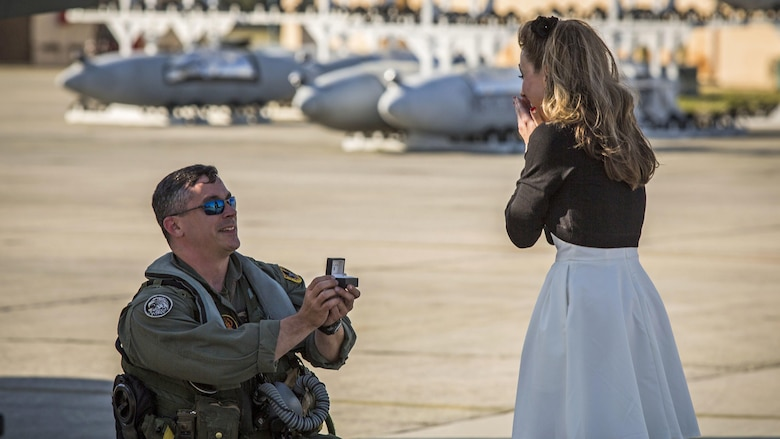 Maj. James Corrington proposes to his girlfriend at Marine Corps Air Station Beaufort, South Carolina, March 15, 2016. Corrington has been deployed to the Western Pacific with Marine All-Weather Fighter Attack Squadron 224 since October 2015. Corrington is a pilot with VMFA(AW)-224.