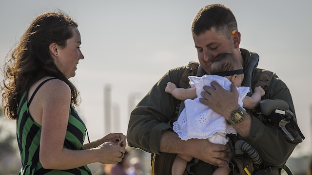A pilot greets his family at Marine Corps Air Station Beaufort, South Carolina, March 15, 2016. More than 180 Marines and 10 F/A-18D Hornet aircraft have been deployed to the Western Pacific since October 2015 as part of the Unit Deployment Program. The pilot is with VMFA(AW)-224.