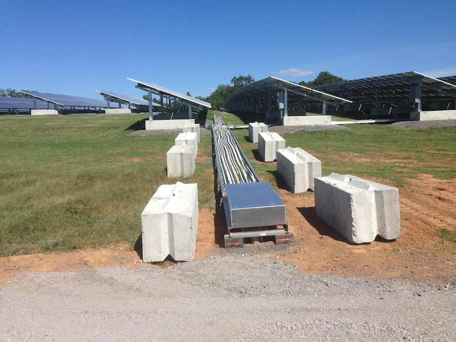 A look at the 3.1 Mega Watt Solar array at Fort Campbell, Kentucky. This project is the first time Huntsville Center's Energy Division used two third-party financing contract vehicles together (Power Purchase Agreement and UESC) for a renewable energy project.