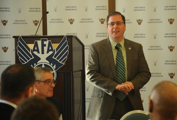 William Beauchamp, the Air Force deputy under secretary for space and principal Defense Department space advisor staff director, speaks on the importance of safeguarding the space enterprise during an Air Force Association breakfast in Arlington, Va., March 17, 2016. In his roles, Beauchamp works closely with the intelligence community and is responsible for overseeing all DOD space capabilities and activities and supporting the defense secretary on space portfolio decisions, and for providing principal support to the Air Force under secretary's role as the Air Force's focal point for space matters. (U.S. Air Force photo/Staff Sgt. Alyssa C. Gibson)