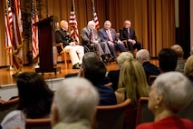 Retired U.S. Marine Lt. Gen. Lawrence F. Snowden, top center, an Iwo Jima veteran, speaks during his award ceremony at Tallahassee, Fla., March 18, 2016. Commandant of the Marine Corps Gen. Robert B. Neller presented Snowden with the Department of Defense Medal for Distinguished Public Service and Navy Distinguished Public Service Award. (U.S. Marine Corps photo by Staff Sgt. Gabriela Garcia/Released)