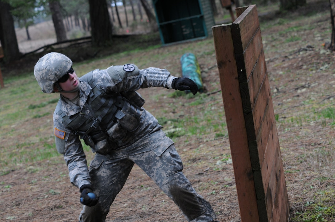 Spc. Christine Holzwarth of Billings, Mont., was the sole female Soldier in the 364th ESC Best Warrior Competition held at JBLM March 2-5. Holzwath advanced from the 652nd Regional Support Group's competition held earlier this year in Helena, Mont. The BWC shows that the Soldiers of 364th ESC are committed to the warrior ethos and stand ready, trained and able to defeat the enemies of the United States.
