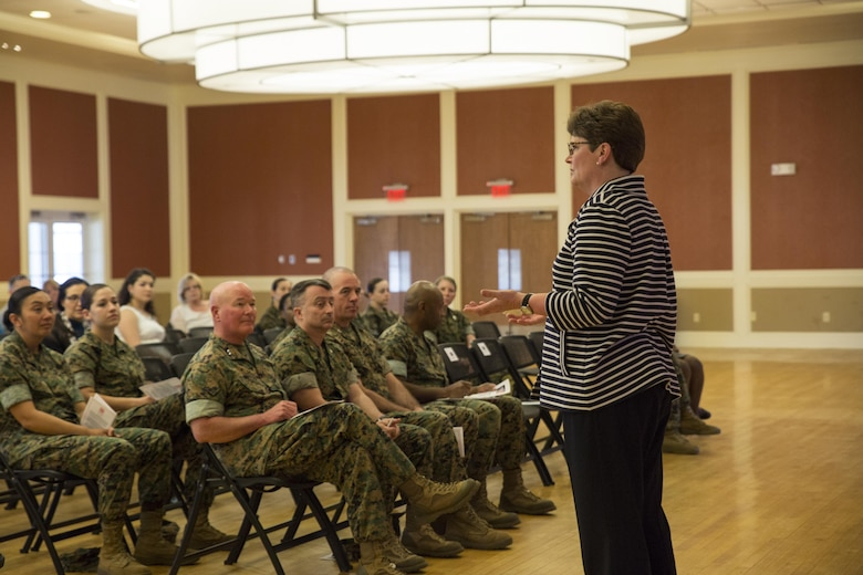 Nancy Brooks, vice president of procurement for Best Buy, shares her experience in networking and leadership with participants during a Lean In Circles event at Camp Lejeune, N.C., March 16, 2016. The event was open to Marines, sailors, and civilian personnel through II Marine Expeditionary Force, and was attended by Maj. Gen. Walter L. Miller, Jr., the II MEF commanding general. In Sept. 2015, Secretary of Defense Ash Carter announced a partnership with LeanIn.Org, founded by Facebook Chief Operating Officer Sheryl Sandberg, as a tool for mentorship. (U.S. Marine Corps photo by Cpl. Fatmeh Saad/ Released)
