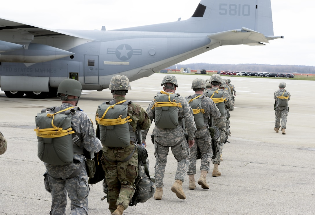 Soldiers with the U.S. Army Reserve's, 412th Civil Affairs Battalion, Columbus, Ohio, walk out to a waiting U.S. Marine Corps, KC-130J aircraft from the 252 Marine Aerial Refueler Transport Squadron, Marine Aircraft Group 14, 2nd Marine Aerial Wing, Marine Corps Air Station, Cherry Point, N.C., to conduct a jump over Wright-Patterson Air Force Base, Ohio, March 19, 2016. Several units from around Wright-Patterson AFB provided support to the jump. (U.S. Air Force photo by Wesley Farnsworth/Released)