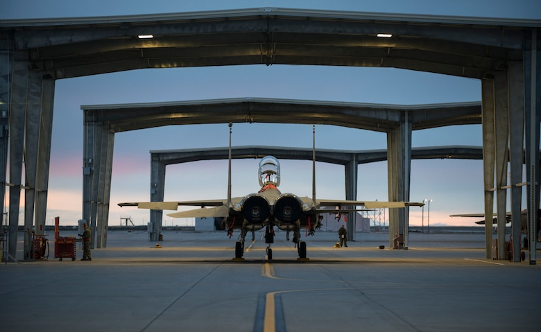 An F-15E Strike Eagle sits under a sunshade at Mountain Home Air Force Base, Idaho, March 15, 2016. Due to an array of avionics and electronic systems, the F-15E has the capability to fight at low altitudes, day or night and in most weather conditions. (U.S. Air Force photo by Senior Airman Malissa Lott/RELEASED)