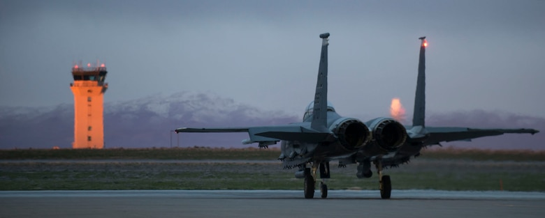 An F-15E Strike Eagle taxis to the runway March 15, 2016, at Mountain Home Air Force Base, Idaho. The F-15E was the first U.S. operational aircraft whose engines' thrust exceeded the plane's loaded weight, permitting it to accelerate even while in vertical climb. (U.S. Air Force photo by Senior Airman Malissa Lott/ RELEASED)