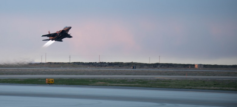 An F-15E Strike Eagle takes off at Mountain Home Air Force Base, Idaho, March 15, 2016. The first flight of the F-15E was made in July 1972. (U.S. Air Force photo by Senior Airman Malissa Lott/ RELEASED)