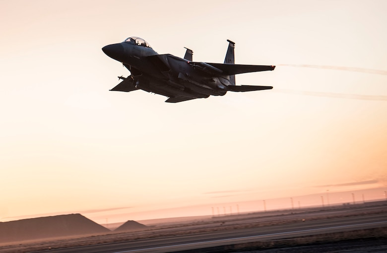 An F-15E Strike Eagle takes off from Mountain Home Air Force Base, Idaho, March 16, 2016. The planes flew constantly during a 72-hour exercise. (U.S. Air Force photo by Airman Alaysia Berry/RELEASED)