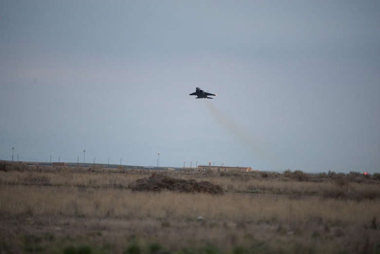 An F-15E Strike Eagle takes off from Mountain Home Air Force Base, Idaho, March 16, 2016. The 366th Fighter Wing conducted a sortie suge which prepared Gunfighters for the stress of 24-hour operations. (U.S. Air Force photo by Airman 1st Class Chester Mientkiewicz/Released)