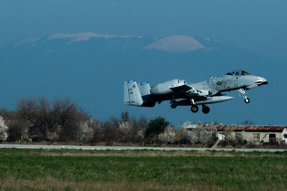 A U.S. Air Force A-10 Thunderbolt II pilot assigned to the 74th Expeditionary Fighter Squadron takes off from the flightline during the 74th EFS's deployment in support of Operation Atlantic Resolve at Graf Ignatievo, Bulgaria, March 18, 2016. The squadron's six-month deployment aimed to demonstrate the U.S.'s shared commitment to peace and better prepare allies and partners to respond to a range of potential security and humanitarian challenges. (U.S. Air Force photo by Staff Sgt. Joe W. McFadden/Released)