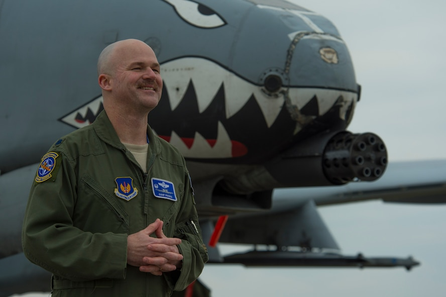 U.S. Air Force Lt. Col. Bryan France, 74th Expeditionary Fighter Squadron commander, speaks during a media interview next to a U.S. Air Force A-10 Thunderbolt II during the 74th EFS's deployment in support of Operation Atlantic Resolve at Graf Ignatievo, Bulgaria, March 16, 2016. Approximately 350 Airmen from Moody Air Force Base, Ga., and Spangdahlem Air Base, Germany, deployed for six months to train alongside NATO allies to strengthen interoperability and to demonstrate U.S. commitment to the security and stability of Europe.  (U.S. Air Force photo by Staff Sgt. Joe W. McFadden/Released)