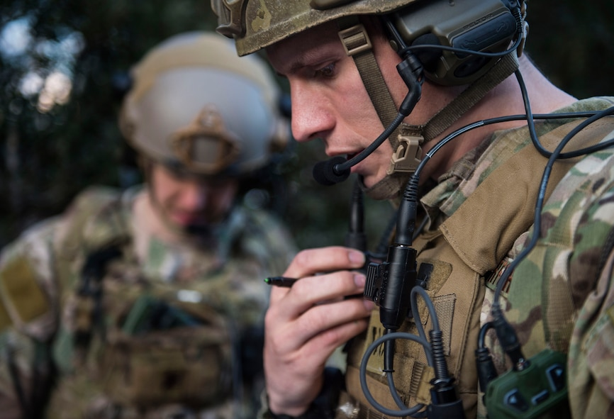 Senior Airman Tormod Lillekroken, 2nd Air Support Operations Squadron joint terminal attack controller, reviews training objectives as part of a night training scenario during Exercise Serpentex '16 in Corsica, France, March 15, 2016. Lillekroken is a member of an elite group of Airmen known as tactical air control party members and has been recently assigned to the 2nd ASOS. Lillekroken was raised in Stange, Norway and uses his ability to speak four languages to build partnership capacity while stationed in Europe. (U.S. Air Force photo/Staff Sgt. Sara Keller)