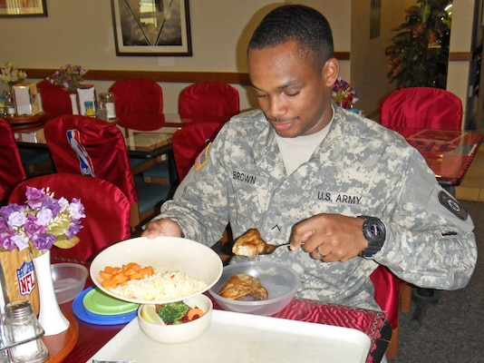 Army Pvt. Byron Brown, assigned to 520th Maintenance Company, 194th Combat Sustainment Support Battalion, eats at a dining facility at Camp Humphreys, South Korea. Despite South Korea's ban on poultry items from the U.S., warfighters who eat at DFACs across the peninsula continue to eat fresh chicken, thanks to DLA Troop Support Pacific.