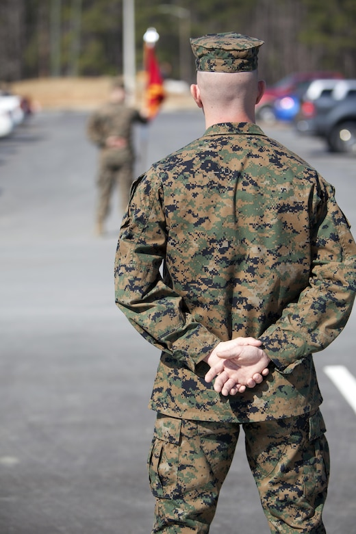 Cpl. Joseph Currey stands in front of a formation during an award ceremony at Marine Corps Air Station Cherry Point, N.C., March 1, 2016. Currey was awarded the Navy and Marine Corps Commendation Medal for his actions after witnessing an ambulance wreck. Currey demonstrated his devotion to serving others as he placed the well-being of the injured personnel above his own by running towards the scene of an accident and rendering aide to those need. Currey is an air support operations operator with Marine Aviation Support Squadron 1. (U.S. Marine Corps photo by Cpl. Austin A. Lewis, U.S. Marine Corps caption by Cpl. N.W. Huertas/Released)