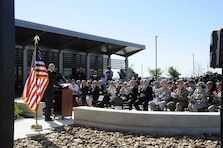 Chris Shelton, Air Marshall in Charge at the Transportation Security Administration Canine Training Center, provides remarks on March 5 during the dedication ceremony for the $12 million facility.