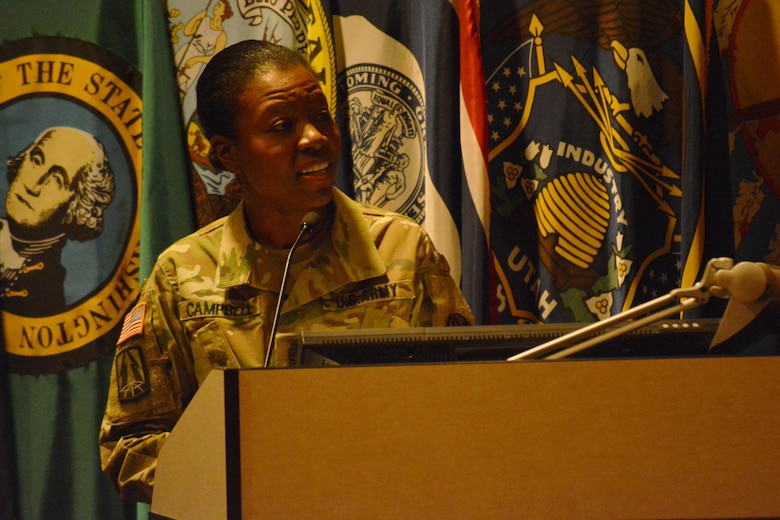 Command Sgt. Maj. Sharon Campbell delivers her first speech as the command sergeant major of the 94th Training Division during a change of responsibility ceremony at Fort Lee, Va., March 18, 2016. Campbell is the 94th TD's first female command sergeant major. The command sergeant major is the commander's primary advisor and sets the standard across the command for enlisted Soldiers. Campbell will now be responsible for the Soldiers' performance, training, appearance and conduct. She'll also be providing direction and guidance to more than 35 other command sergeants major assigned to subordinate units.