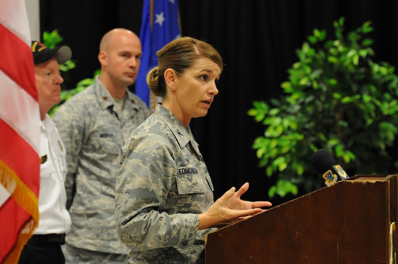 Col. Michele Edmondson, 81st Training Wing commander, makes a statement during a mock press conference at Wall Studio during Keesler's active shooter exercise Mar. 17, 2016, Keesler Air Force Base, Miss.  An active duty Air Force member simulated opening fire at the hospital in order to test the base's ability to respond to and recover from a mass casualty event. (U.S. Air Force photo by Kemberly Groue)