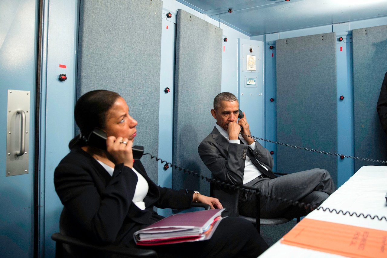 At the residence of the U.S. chief of mission in Havana, President Barack Obama and National Security Advisor Susan E. Rice receive an update via telephone from Homeland Security Advisor Lisa Monaco on the terrorist attacks in Brussels, March 22, 2016. White House photo by Pete Souza