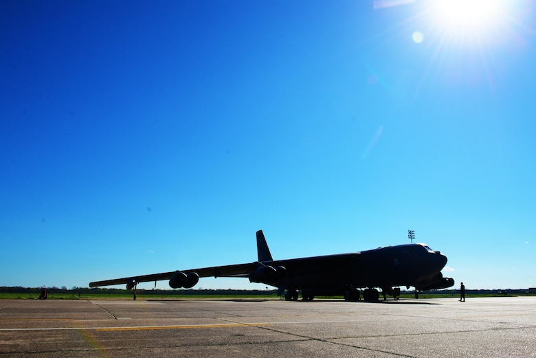 A B-52 Stratofortress was inspected before takeoff at Barksdale Air Force Base, La., March 22, 2016. To highlight the contribution of women who have served our country and to honor women's history month, two B-52's will be flown by all-female Air Crew. (U.S. Air Force photo/Airman 1st Class Luke Hill)